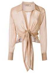 Adriana Degreas Lace Up Shirt Nude Neutrals