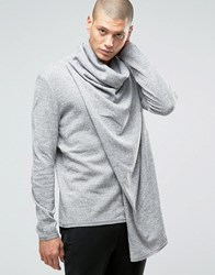 Asos Knitted Wrap Cardigan With Oversized Cowl Neck Grey Twist