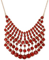 Lucky Brand Gold Tone Red Stone Statement Necklace