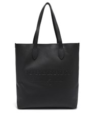 Burberry Logo Debossed Grained Leather Tote Black