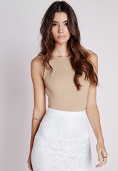 Missguided Sleeveless Scoop Back Ribbed Bodysuit Camel Beige
