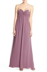 Women's Hayley Paige Occasions Beaded Strap Sweetheart Neckline Chiffon A Line Gown Frosted Violet