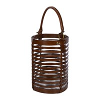 Amara Leather Caged Glass Hurricane Tan