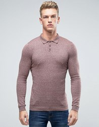 Asos Knitted Polo Neck Jumper In Muscle Fit Pink Grey Twist