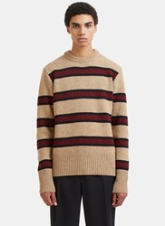 Marni Striped Wool Knit Sweater Beige