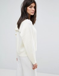 Jaeger Cape Back Sweater White