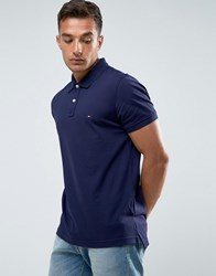 Tommy Hilfiger Luxury Pique Polo Tipped Slim Fit In Blue 492 Maritime