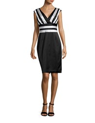 Kay Unger Stretchy Satin Striped Cocktail Dress Black White