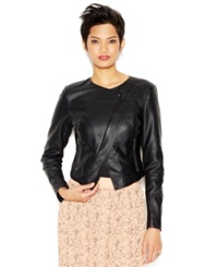 Bar Iii Split Back Asymmetrical Faux Leather Jacket Anthracite
