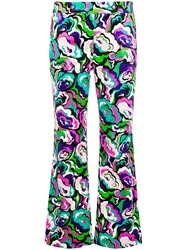 Emilio Pucci Cropped Flared Trousers Green