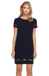 Women's Tahari Mesh Inset Crepe Shift Dress Navy