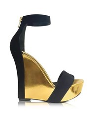 Balmain Samara Black Suede And Gold Metallic Leather Wedge Sandal