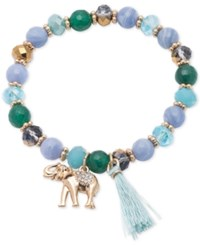 Lonna And Lilly Gold Tone Blue Beaded Stretch Charm Bracelet