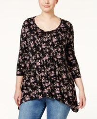 American Rag Plus Size Floral Print Pintucked Tunic Top Classic Black Combo