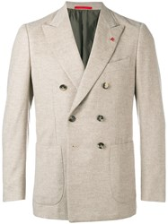Isaia Classic Double Breasted Blazer Nude And Neutrals
