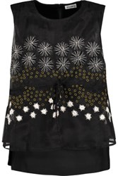 Suno Layered Satin Faille And Embellished Organza Top Black
