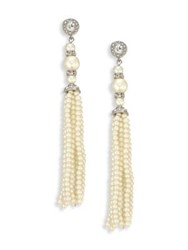 Kenneth Jay Lane Crystal And Faux Pearl Tassel Earrings Ivory