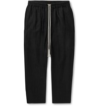 Rick Owens Black Cropped Wool Blend Seersucker Drawstring Trousers Black