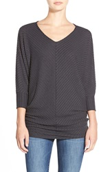 Velvet By Graham Spencer Rib Knit Dolman Sleeve Top Dark Grey