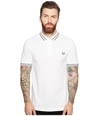 Fred Perry Tramline Tipped Pique Shirt White Men's Clothing
