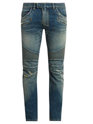 Balmain Biker Distressed Slim Leg Jeans Blue