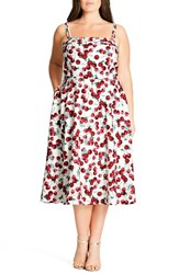 City Chic Plus Size Women's 'Holiday Romance' Print Fit And Flare Dress Cherry Baby