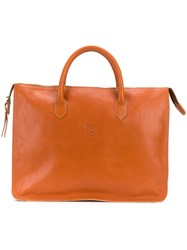 Il Bisonte Large Top Handle Tote Bag Yellow And Orange