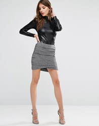 Y.A.S Lisa Shimmer Twist Skirt Silver