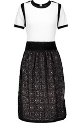 Raoul Pleated Paneled Stretch Knit And Cotton Blend Lace Dress Black