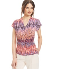 Laundry By Shelli Segal Short Sleeve Printed Faux Wrap Blouse Hibiscus Multi