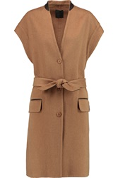 Agnona Leather Trimmed Cashmere Coat Brown