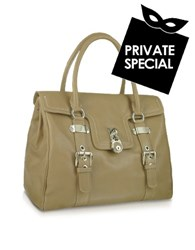 Buti Large Grained Leather Flap Satchel Bag Beige