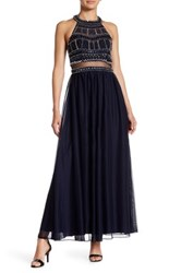 Sequin Hearts Beaded Halter Gown Blue