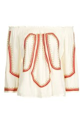 Goldie Rival Cream And Red Beaded Blouse By