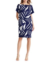 Lauren Ralph Lauren Geometric Print Shift Dress Navy
