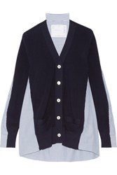 Sacai Ribbed Cotton And Poplin Cardigan Midnight Blue