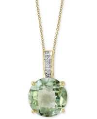 Effy Final Call By Green Amethyst 3 9 10 Ct. T.W. And Diamond Accent Pendant Necklace In 14K Gold