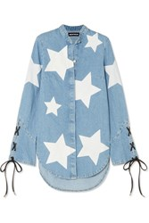 House Of Holland Faux Leather Trimmed Printed Denim Shirt Blue
