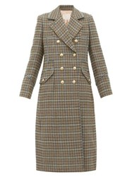 Rebecca Taylor Double Breasted Houndstooth Wool Blend Coat Beige Multi