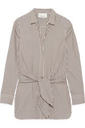 3.1 Phillip Lim Tie Front Striped Cotton And Silk Blend Oxford Shirt Dark Brown