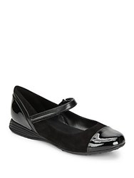 Cole Haan Bria Suede And Patent Leather Mary Jane Flats Black