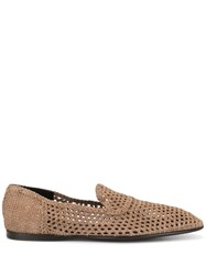 Dolce And Gabbana Perforated Slippers Brown