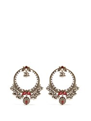 Alexander Mcqueen Crystal Embellished Large Hoop Earrings Multi