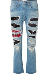 Junya Watanabe Patchwork Distressed High Rise Straight Leg Jeans Blue
