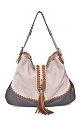 Carla Mancini Whipstitched Leather Tassel Hobo White