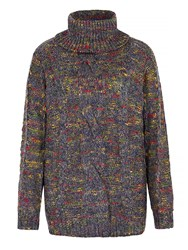 Mela Loves London Roll Neck Chunky Oversized Jumper Multi Coloured