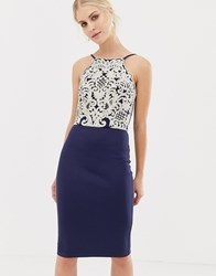 Chi Chi London Midi Pencil Dress With Gold Embroidery In Navy Navy Gold