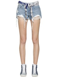 Steve J And Yoni P Scarf Belt Destroyed Cotton Denim Shorts