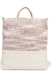 Clare V. V Matilde Woven Canvas And Textured Leather Tote Ivory