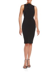 Badgley Mischka Platinum Cowlneck Sheath Dress Black